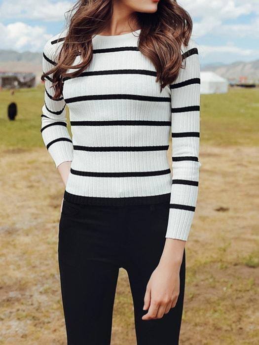 Navy Black and White Stripe Slim All-match Knit Top Sweater