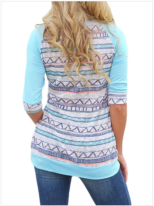 Women Striped Pattern Front Crochet Lace Pocket Tops Shirt