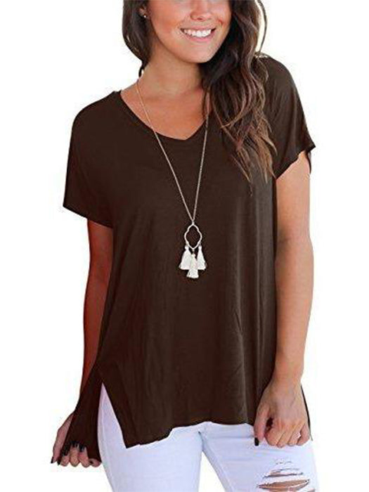 Short Sleeve High Low Loose Blouse