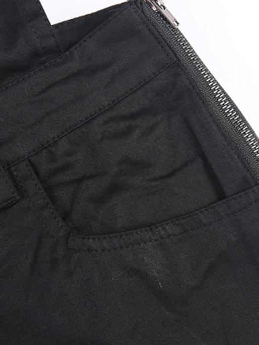 Black Boyish Zipper Side Pockets Overall