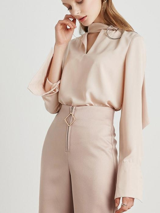 Vintage Blouse With Brooch Details - Nude Pink / S 1442