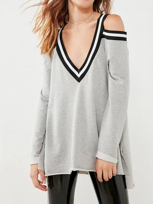 Deep V-neck Off Shoulder Swing Sweatershirt in Grey