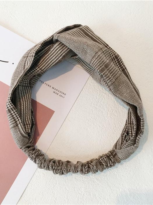 Knot Front Checked Design Headband