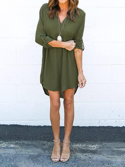 Chiffon V-neck Shirt Dress