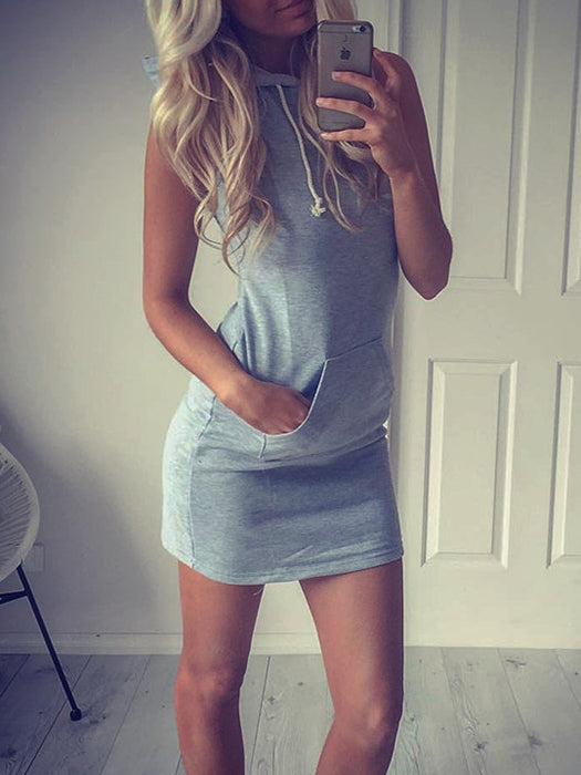 Sleeveless Hooded Mini Dress