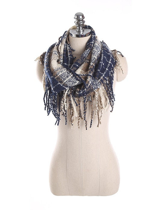 Woven Check Pattern Scarf With Tassel