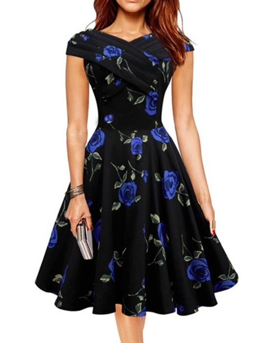 Wrapped Floral Print Pleated Dress