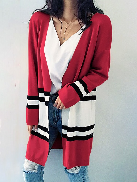 Color Block Midi Cardigan