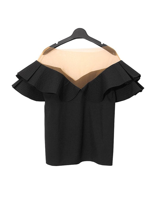 Ruffled Off The Shoulder V Neck Top