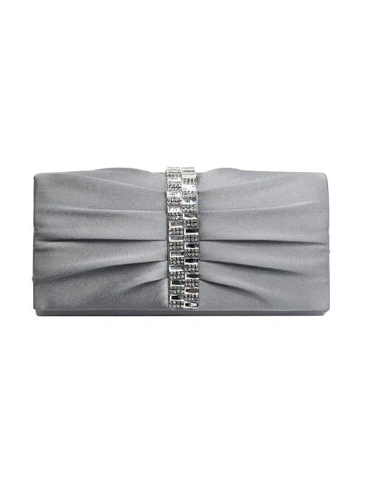 Pleated Faux Jewel Clutch Bag