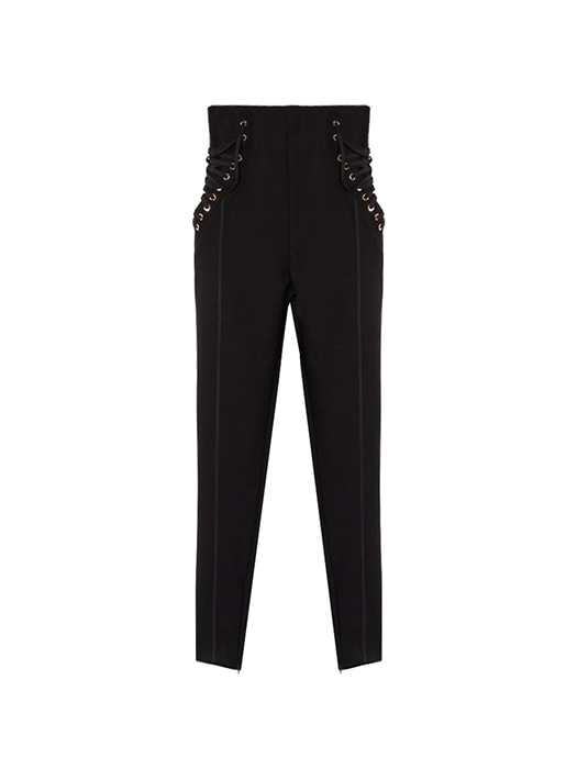 Laced Up Tapered Pants With Cuff Zips