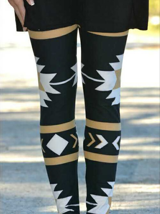 Christmas Tribal Pattern Leggings - L / Black 19878