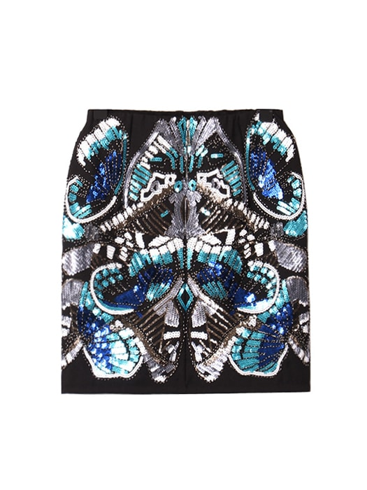 Sequined Butterfly Mini Skirt With Beads