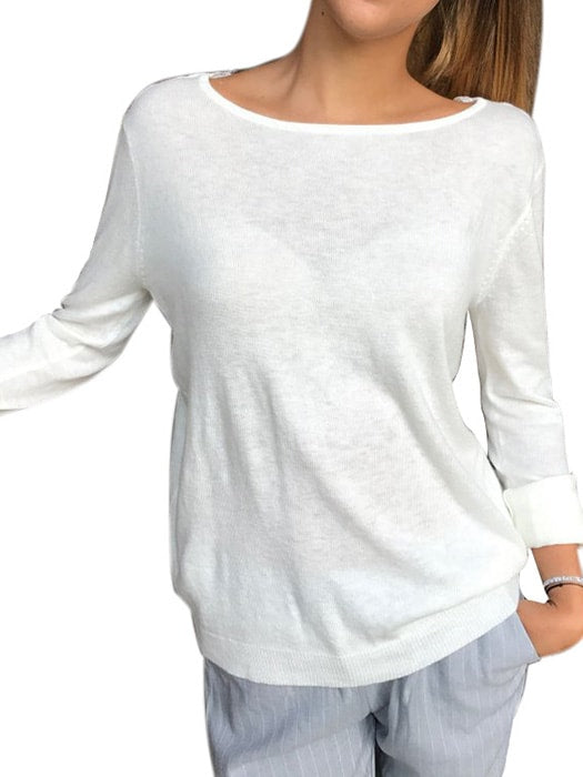 Backless Long Sleeve Round Neck Lace Spliced T-shirt