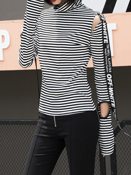 Cut Out Roll Neck Striped Top With Letter Tape