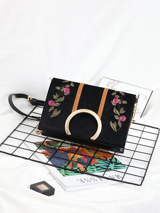 Embroidered Ball-edged Flap Shoulder Bag