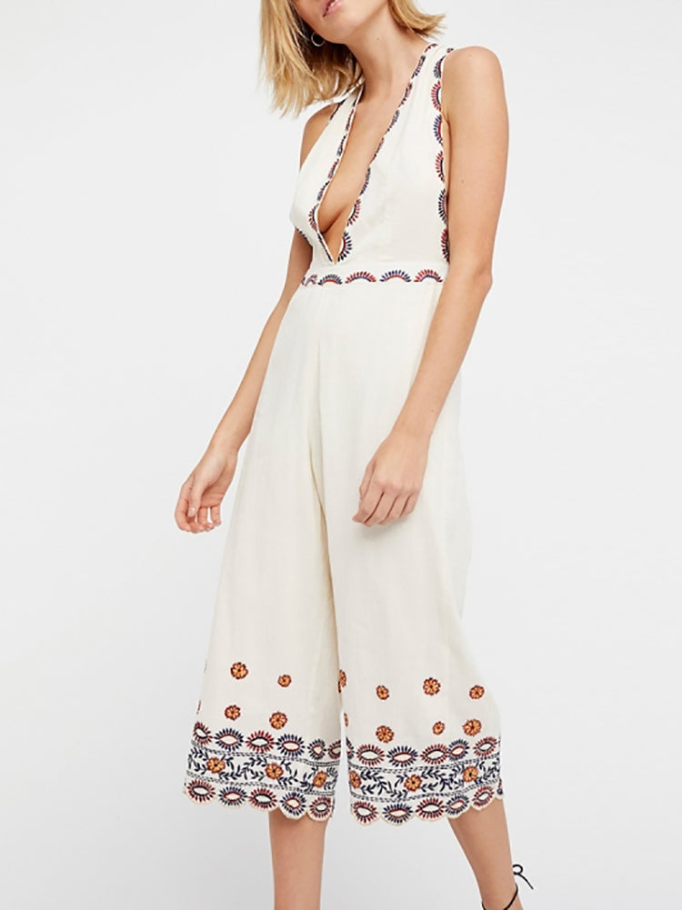 Boho Plunging Wide Leg Jumpsuit