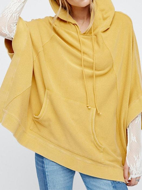 Bat-wing Sleeve Solid Color Casual Look Hoody