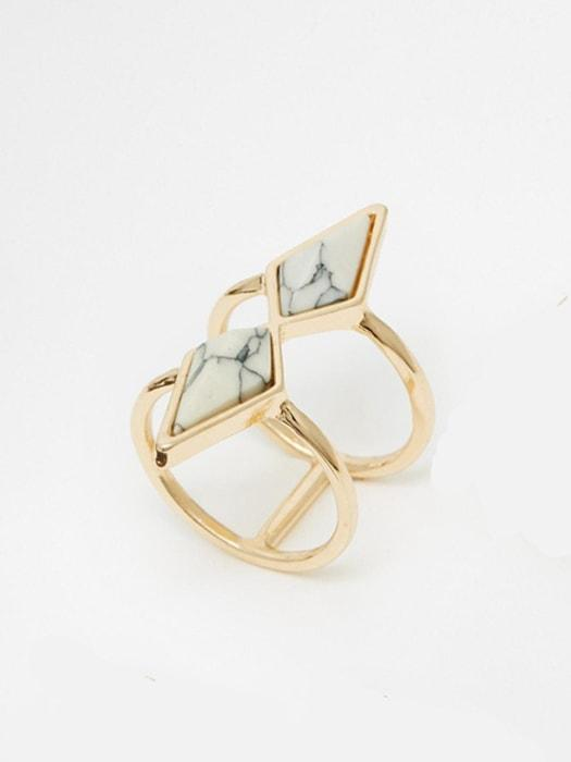 Double Hoop Geometric Marble Ring