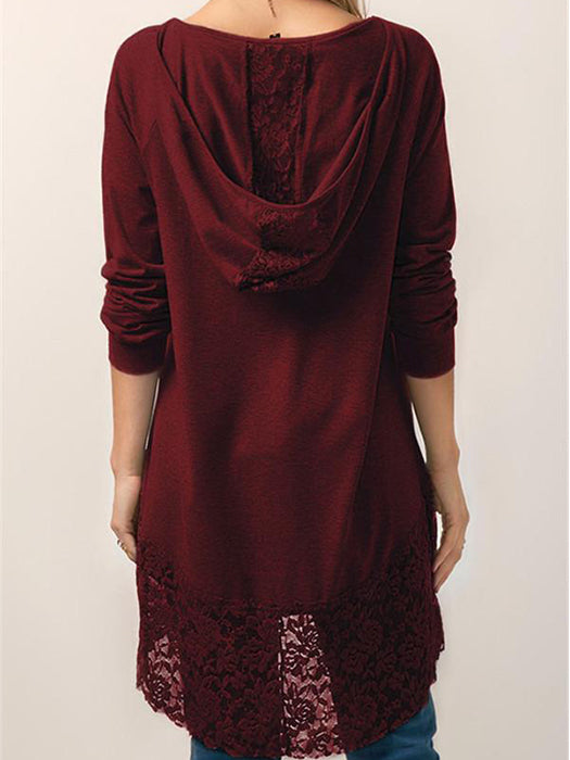 Casual Lace Hem Hoodie Pullover