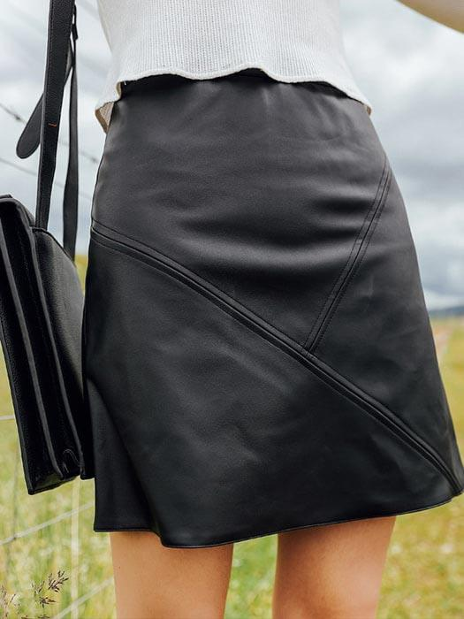 A-line PU Leather Chic Skirt