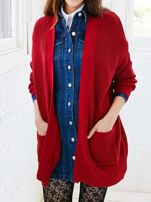 Oversize Ribbed Autumn Sweater With Double Pockets