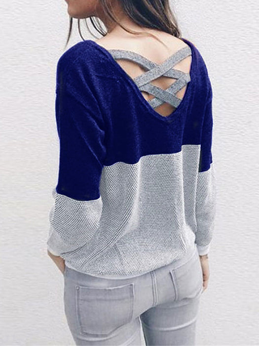 Casual Knitted Cross Design Color Block Crew Neck Sweater