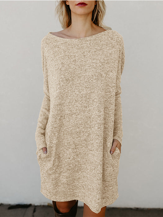 Long Sleeve Casual Shift Sweater Dress