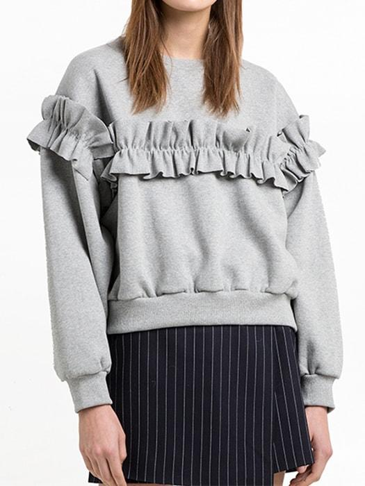 Agaric Lace Trimmed Crew Neck Sweatshirt