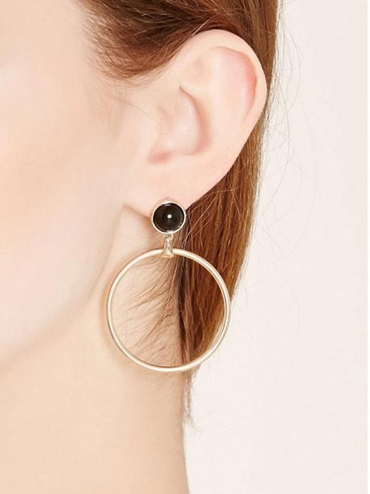 Black Beads Ear Studs Hoop Earrings