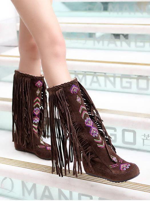 Suede Ethnic Tassel Embroidery Boots