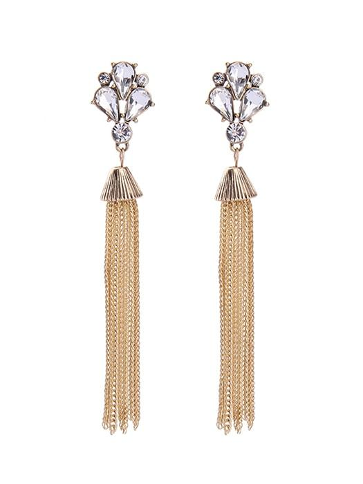 Gem Tassel Drop Earrings