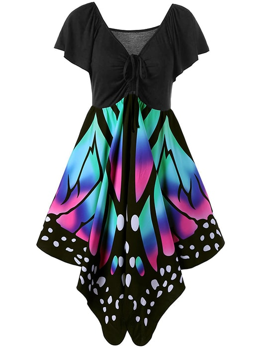 Butterfly Print Sexy Contrast Color Short Sleeve Dress