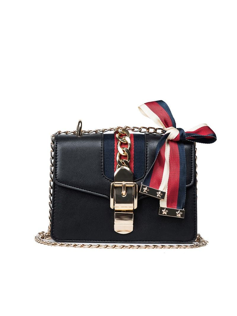 Ribbon/Chain Shoulder Drop Bag