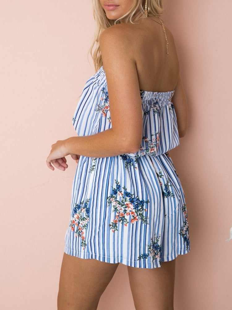 Striped Floral Strapless Romper