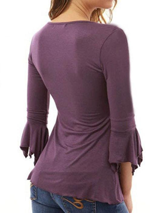 Deep V-neck Button Down Bell Sleeve Blouse