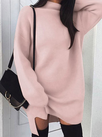 a5760fbb3b7 Plus Size Loose Knit High Collar Split Sweater Dress.  16.99 USD.  37.50  USD. Long Sleeve Velvet Sweaters Casual Knitted Long Flurry ...