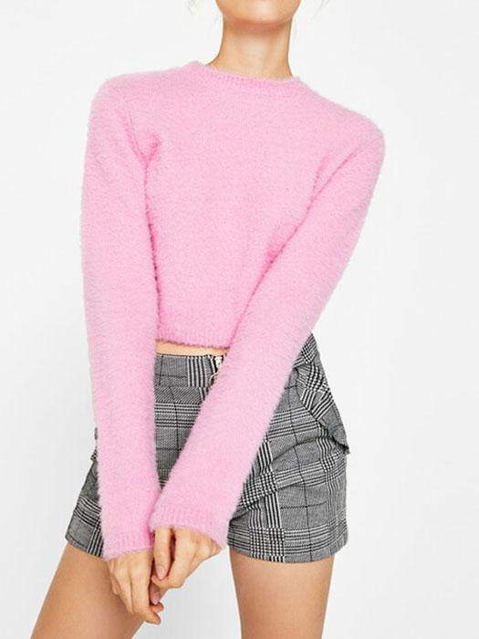 Sweet Fuzzy Knitted Stand Neck Sweater