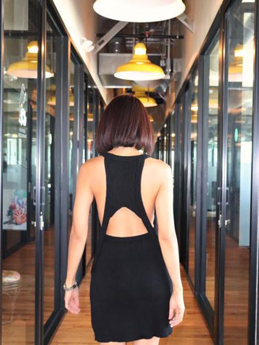 Cut Out Knitted All Black Tank Dress