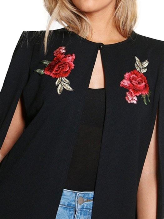 Embroidered Cape With Slits