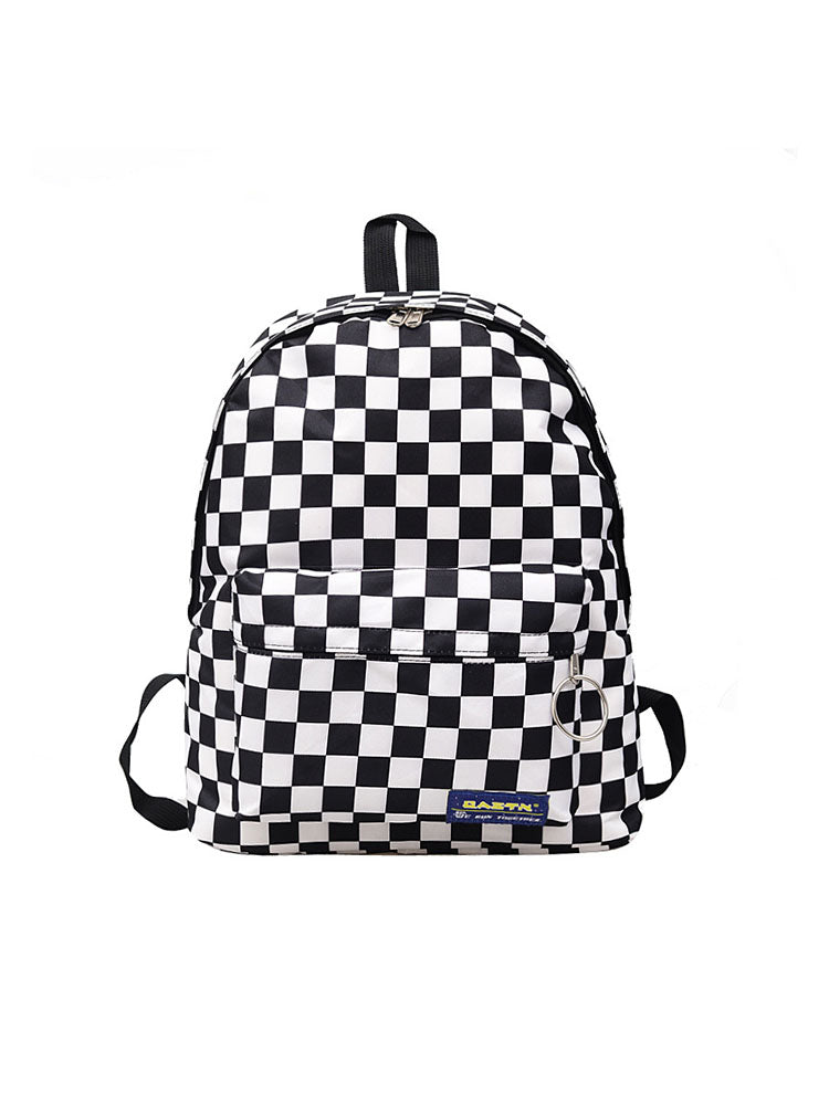 Back-to-school Contrast Plaid Backpack