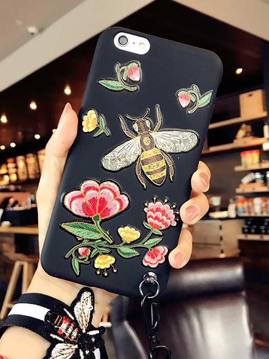 Exquisite Stereo Motifs Phone Case with Wristlet