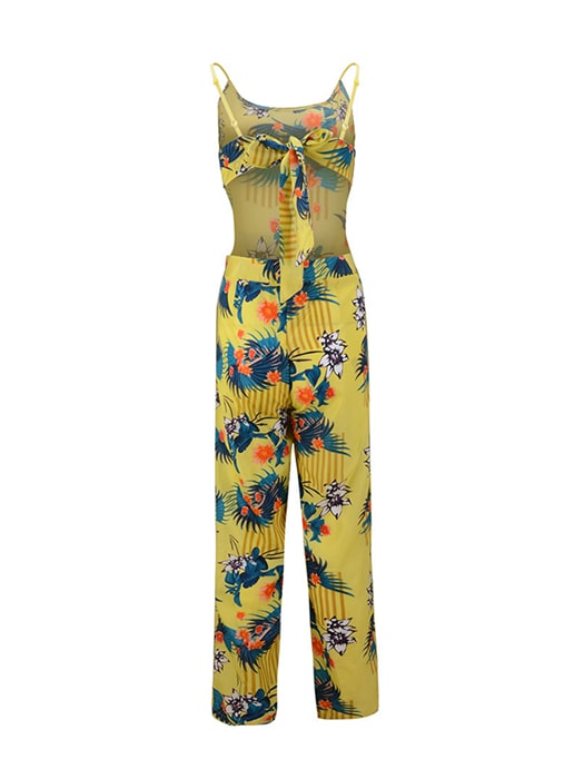 Tied Back Scoop Neck Floral Pants