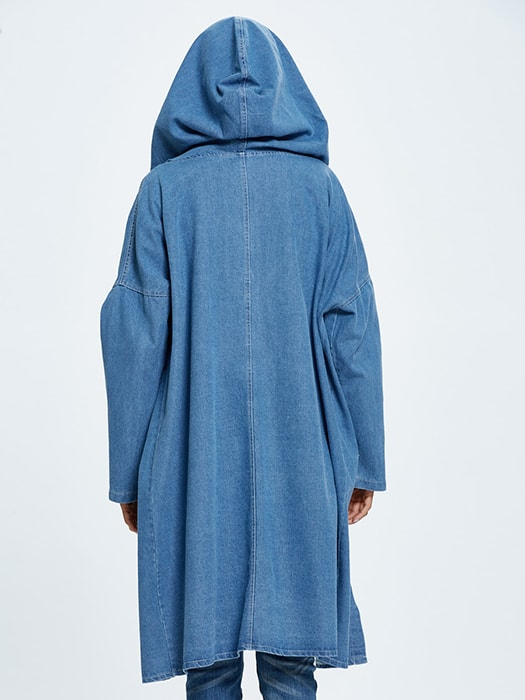 Denim Function Pocket Longline Coat With Hood