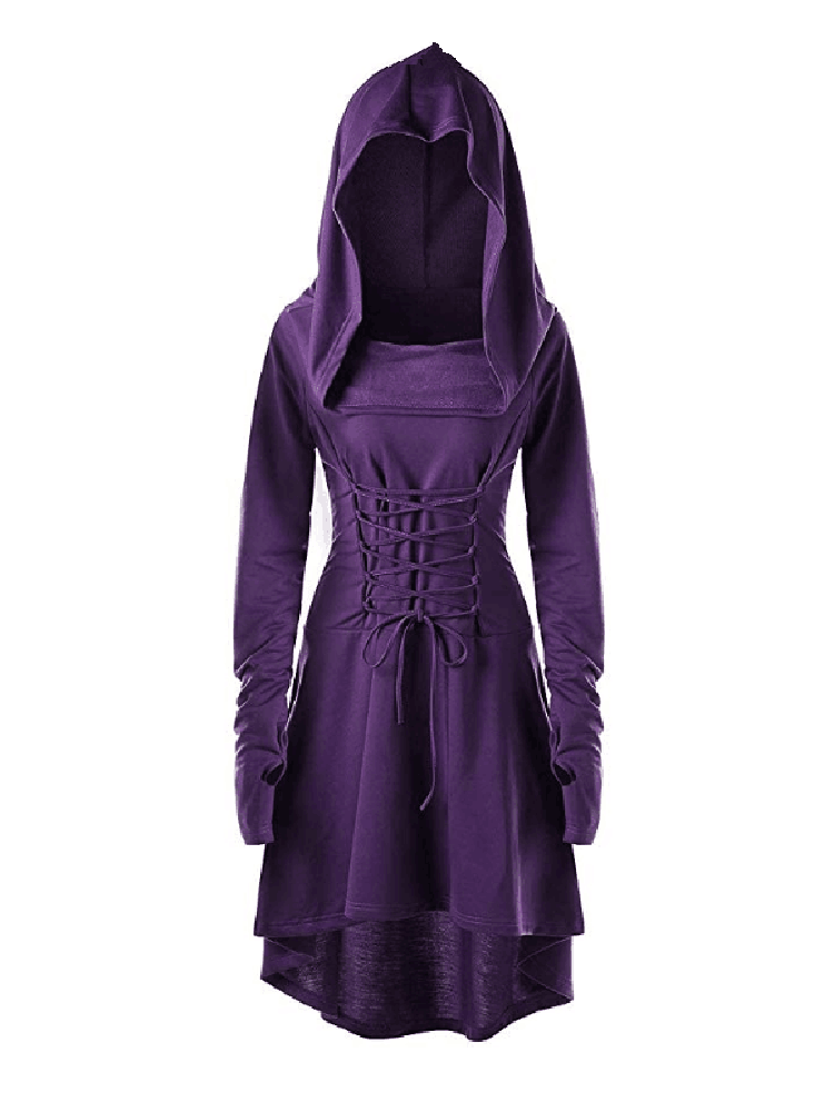 Hooded Lace-up Dress