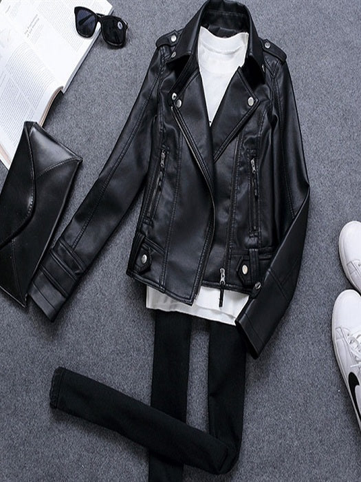 Black Short PU  Leather Jacket