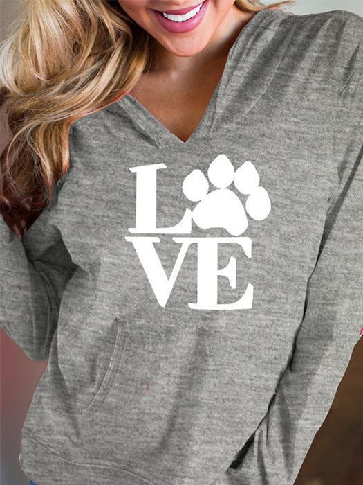 Fashion Casual Love & Paw Printed Pocket Design Hoodie