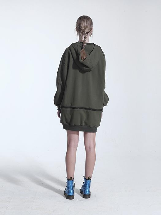 Oversize Button Through Drop Shoulder Hoodie With Zipper Detail In Army