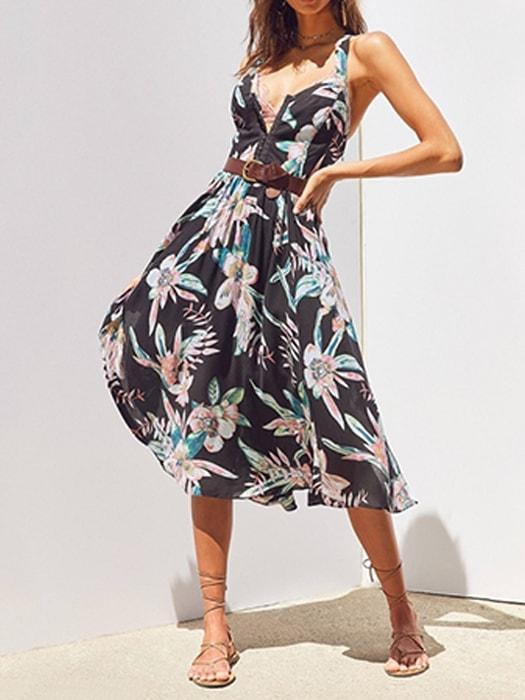 Floral Printed V Neck High Waist Slip Dress