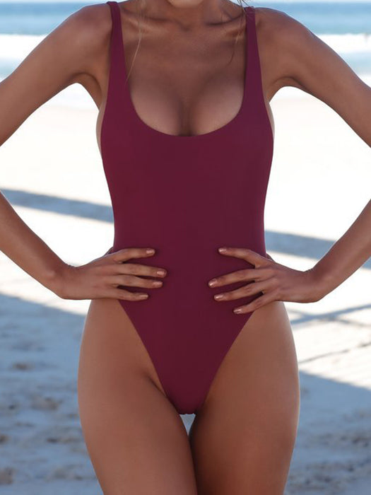 Basic Open Back Solid Swimsuit